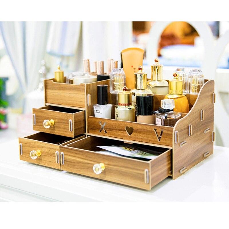 Boîte de rangement de bureau en bois multifonction maquillage organisateur boîte de rangement cosmétique bricolage grands tiroirs organisateur de maquillage