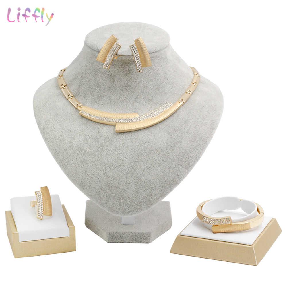 Liffly เครื่องประดับชุดเจ้าสาวแฟชั่นดูไบสีทองผู้หญิงชุดเครื่องประดับแอฟริกันลูกปัดสร้อยคอเครื่องประดับ