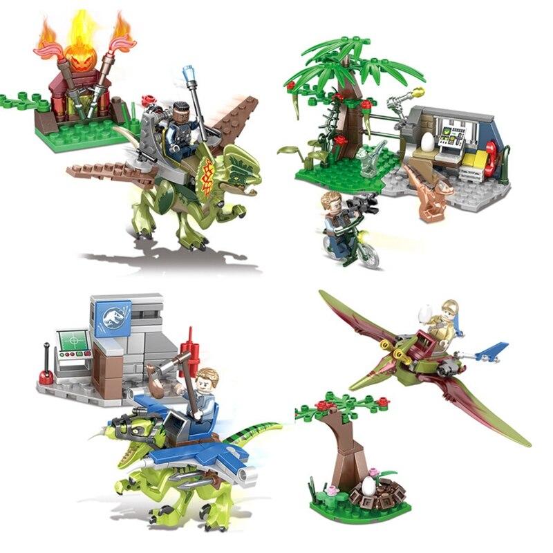 4 pièces Jurassique 1091 Blocs de construction En Plastique Dinosaure Costume Enfants Éducatifs Compatibles Avec Assemblé Jouet Cadeau D'anniversaire