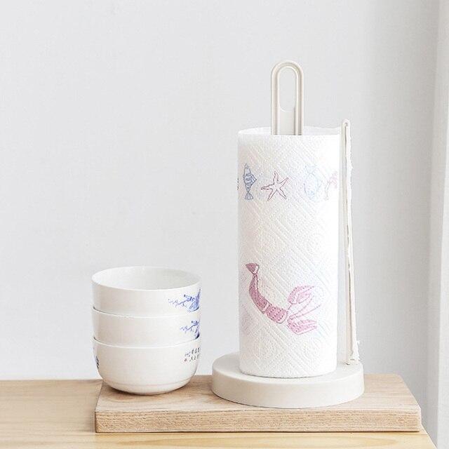 Vertical Roll Paper Holder Kitchen Paper Napkin Racks Creative Desktop  Punch Free Paper Towel Rack