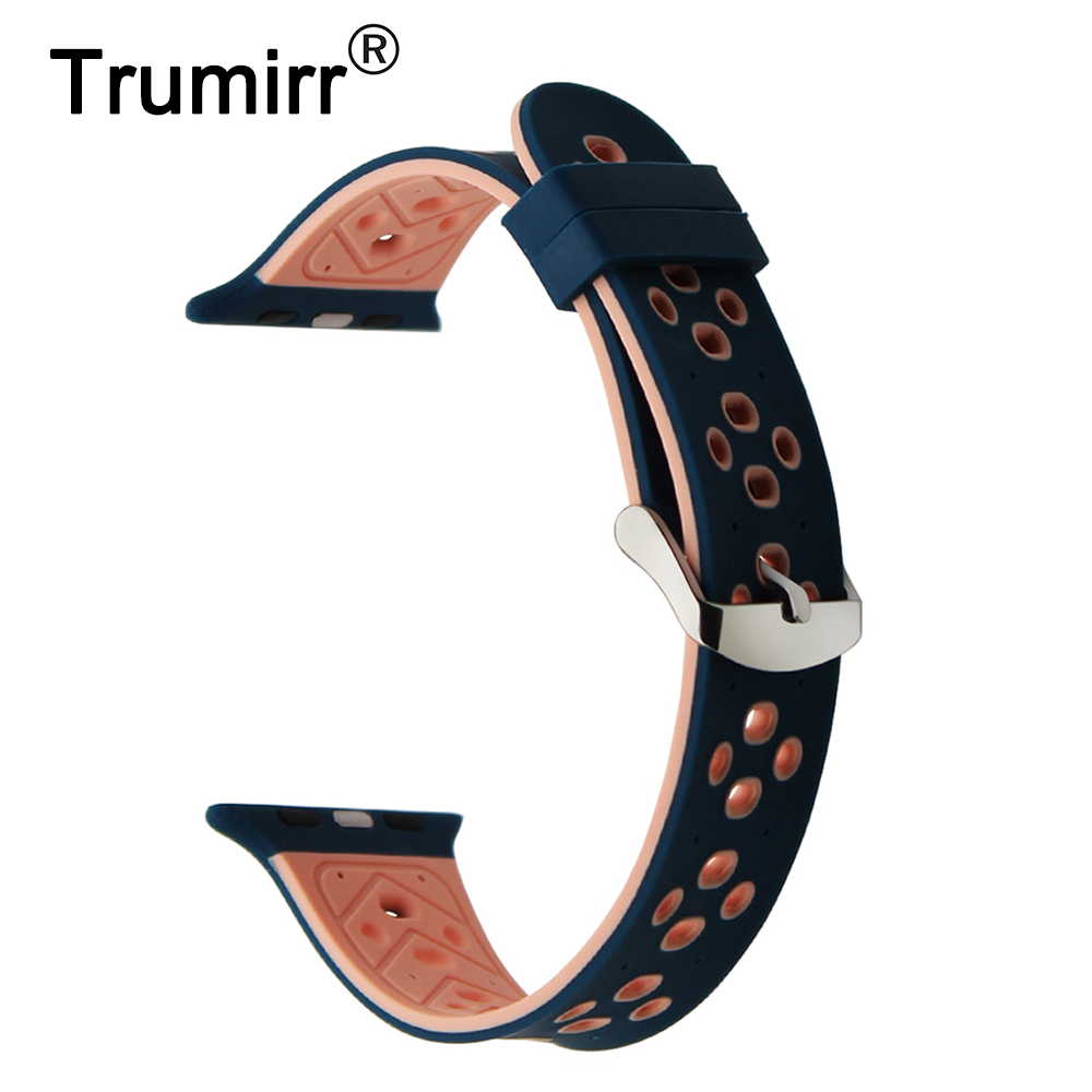 Silicone Rubber Watchband for 38mm 42mm iWatch Apple Watch Sport Edition Wrist Band Steel Buckle Strap Bracelet Blue Pink Black uyoung watchband for casio prg 130y prw 1500yj watch bands black silicone rubber strap climbing bracelet