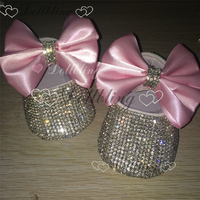 Pink Bow Infant Keepsake Sequins Chain crystal Handmade Dollbling baby princess shoes all cover crystals birthday Gift shoes