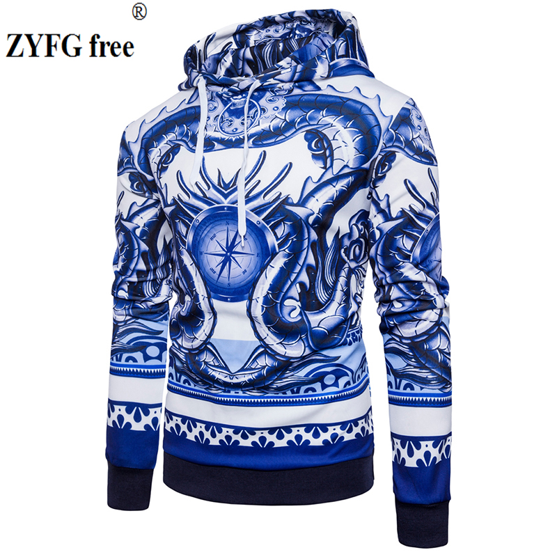 Winter 2017 New Chinese style Mens Pullovers tops Hoodie Men cotton Fashion Blue and white porcelain printing clothes size S-XXL