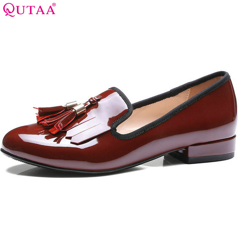 QUTAA Women Pumps Ladies Shoes Square Low Heel PU Patent leather Round Toe Slip On Tassel Woman Wedding Shoes Size 34-43 vintage big bowtie women shoes bright color high quality patent pu leather low heel shallow slip on shoes woman xwd3767