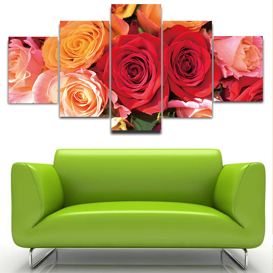 5 pieces HD print Beautiful rose flowers canvas poster wall painting artwork murals modular pictures modern living room decor in Painting Calligraphy from Home Garden