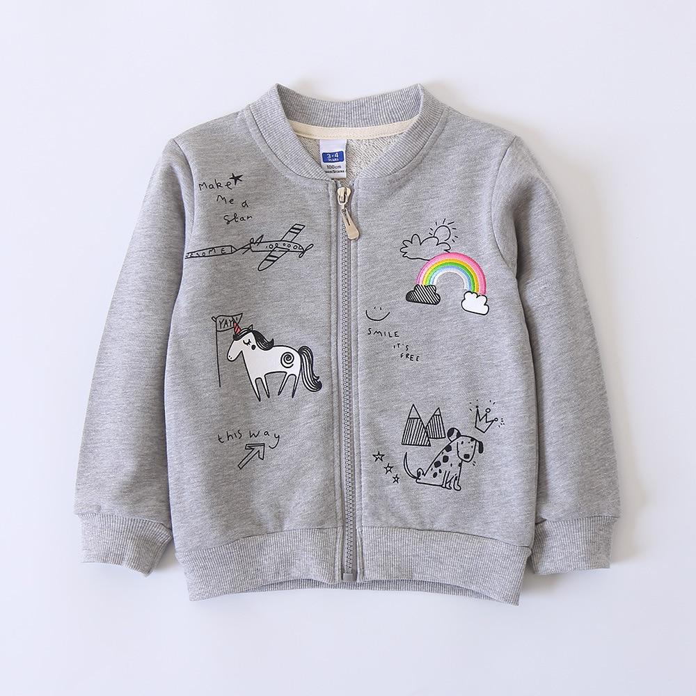 Rainbow Horse Pattern Stand Collar Baby Girls Outerwear Kids 2018 New Spring Zipper Jackets Children Cartoon Clothes Girls Coats