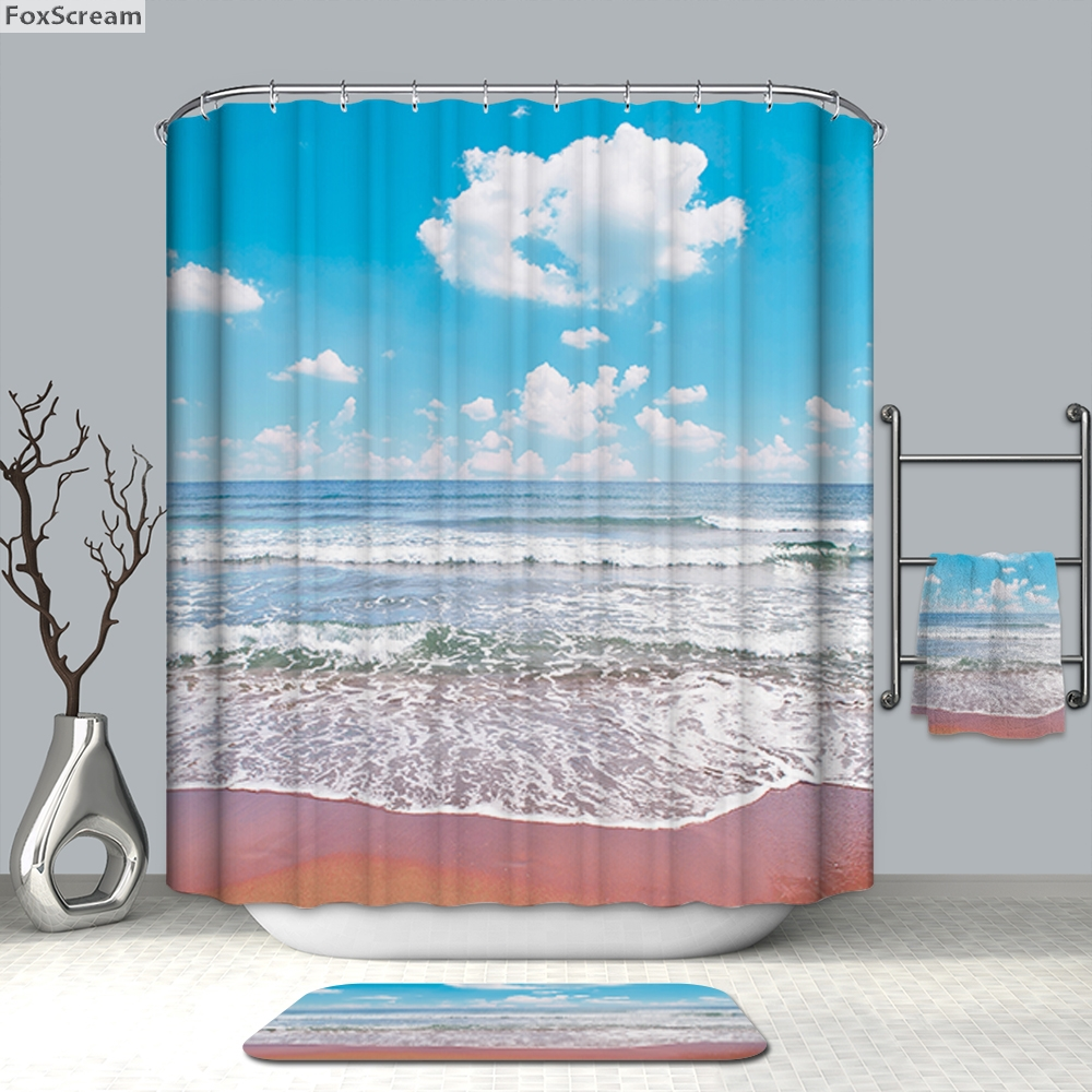 Us 9 93 29 Off Nautical Shower Curtains Beach Bathroom Curtain Funny Fabric Tree In From Home Garden