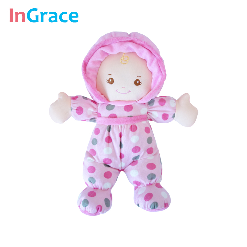 Sweet Baby Sleep Calm Doll Pink Polka Dot Soft Toys Girls Plush Dolls Reborn
