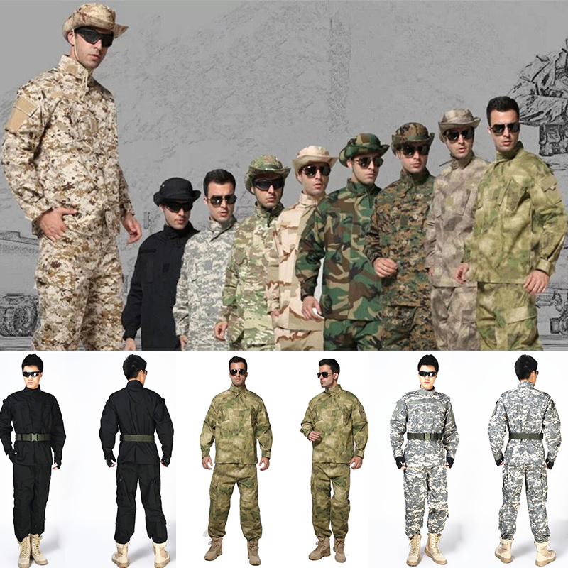Hunting Clothes Camouflage suit sets Tactical Combat Airsoft Shirt Pants Clothing Bdu Military Army Uniform US A-TACS FG ACU AU black typhon nomad camouflage military tactical acu airsoft combat uniform shirts pants