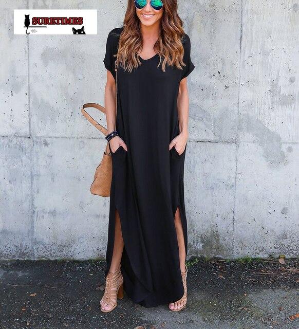 Lange zwarte jurk basic