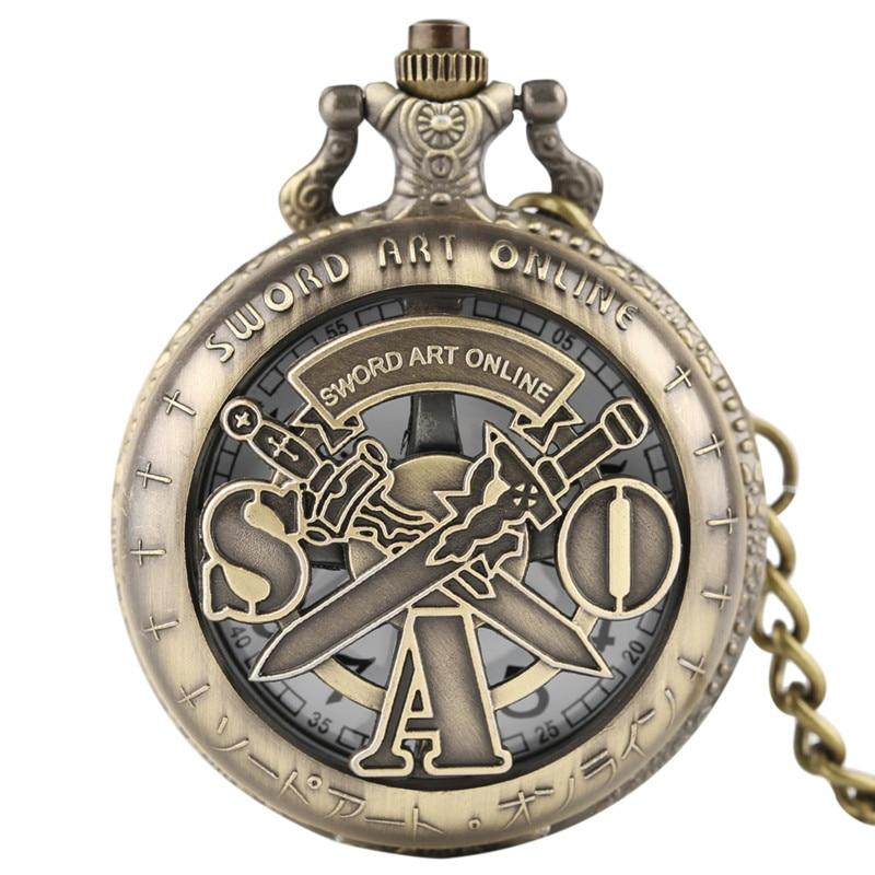 Yisuya Schwert Art Online Taschenuhr Quarz Steampunk Halskette Anhänger Vintage Bronze Fob Kette HöChste Bequemlichkeit Uhren
