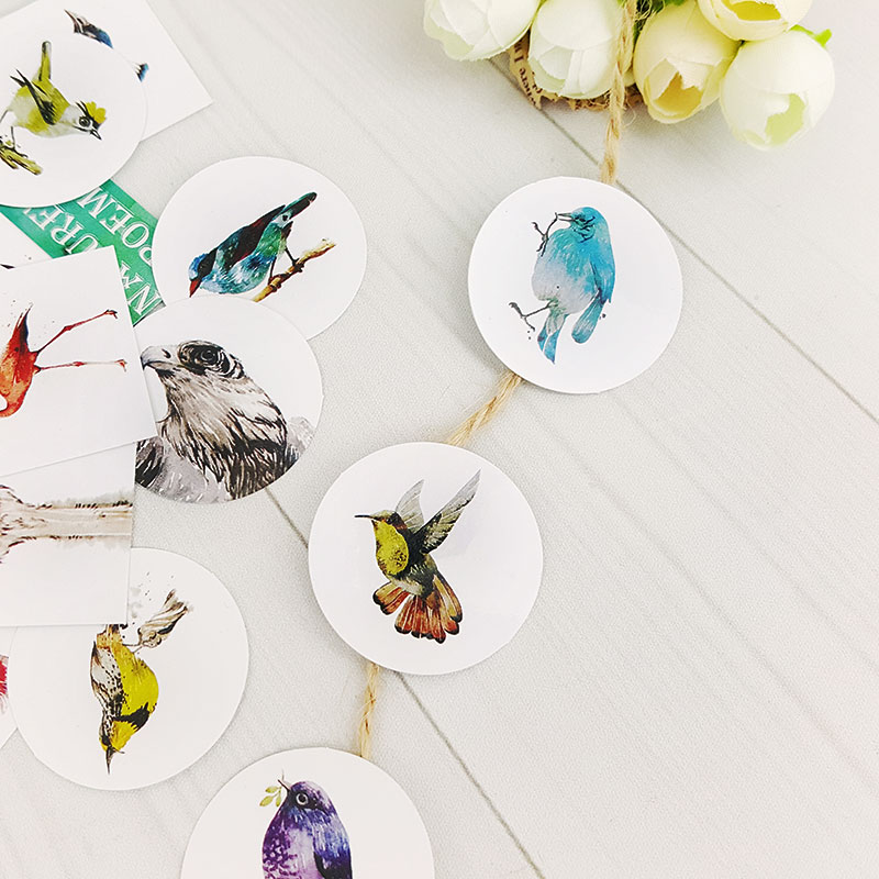 40pcs/lot Birds of nature mini box paper sticker Decoration DIY Scrapbooking Sticker Stationery office kawaii label stickers nature explorer box set