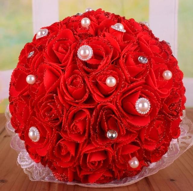 Barato Ramos de Novia Rojo Accesorios Hechos A Mano de Calidad Superior Con Cuentas Flores Artificiales de Seda Ramo de Novia de La Boda de dama de Honor