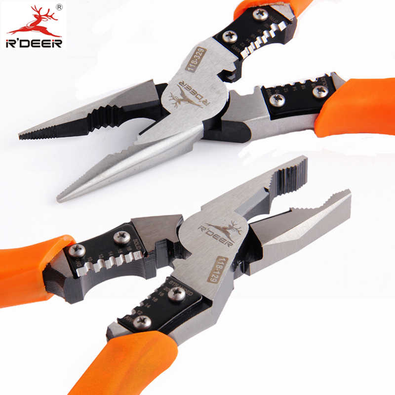 RDEER Long Nose Pliers Cutting Pliers Chrome Vanadium Steel Electrician Wire Stripper Wire Cutter Multi Tool 9""