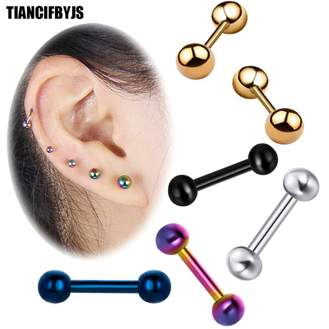 Tiancifbyjs 2pcs Ear Cartilage Tragus Earring Stainless Steel Piercing Helix Barbell Woman Stud Lip