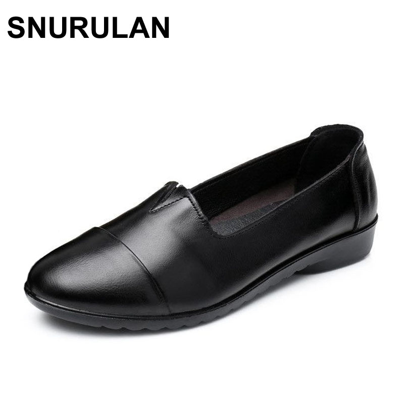 SNURULAN Shoes Woman 2017 Genuine Leather Women Flats Shoes Spring Autumn New Woman Fahion Casual slip-on Soft bottom Work Shoes cresfimix zapatos women cute flat shoes lady spring and summer pu leather flats female casual soft comfortable slip on shoes