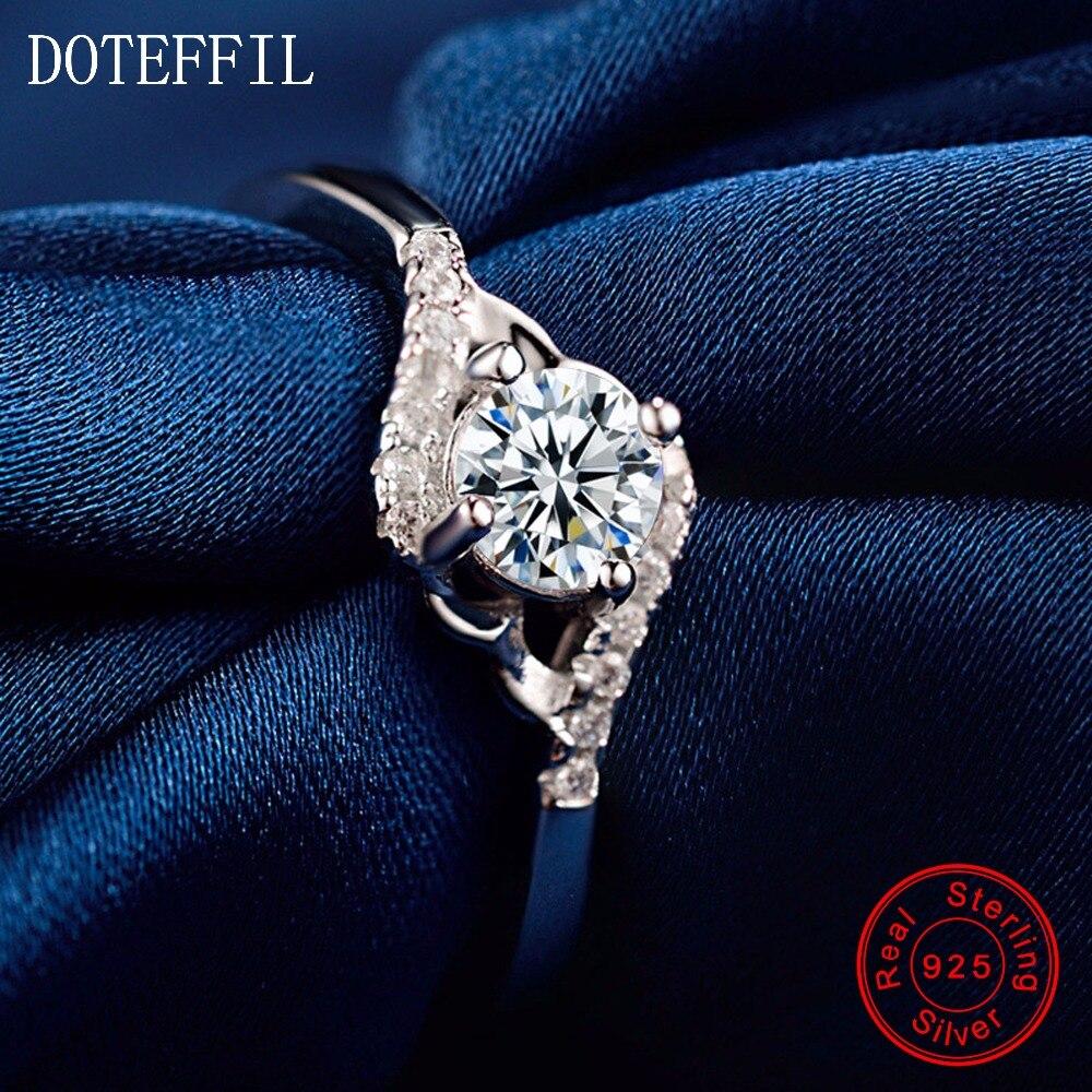 Charm 925 stříbrné prsteny dámské módní zirkony 100% stříbrné prsteny luxusní značky šperky