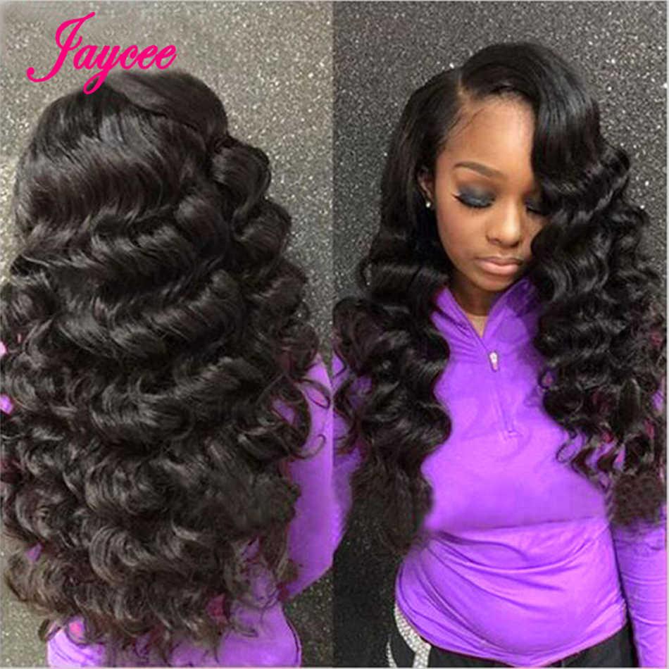 Jaycee перуанское неплотное переплетение пучков с закрытием 100% человеческих волос Плетение свободные завитки 3 пучка с закрытием первиан наращивание волос