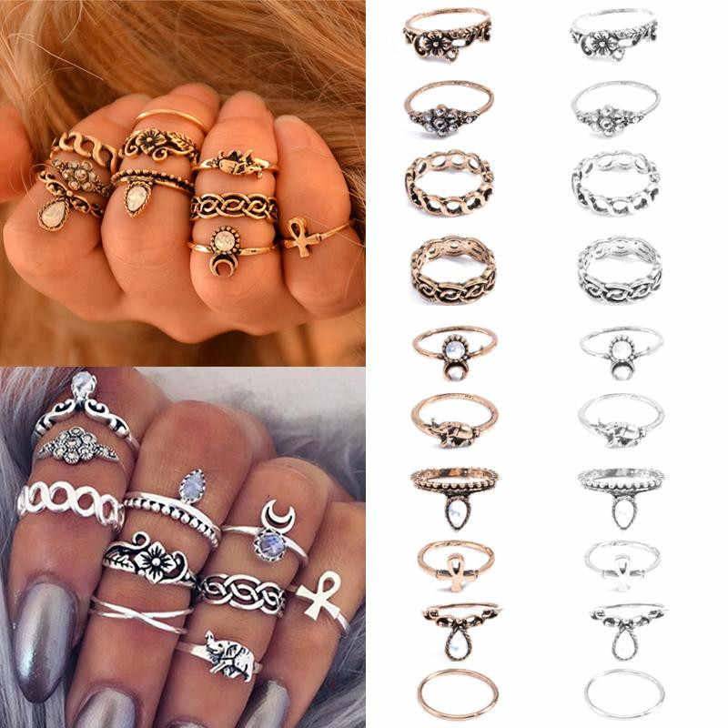 Knock 10pcs/set Vintage Joint Ring Set Bohemian National Wind Joints Ten Suits Baby Elephant Jewelry Rings