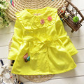 2017 Trench Coats for Girls Flower Carton Cotton Baby Girl Clothes infant Outerwear Sport Clothing Child Kids Casual Jackets