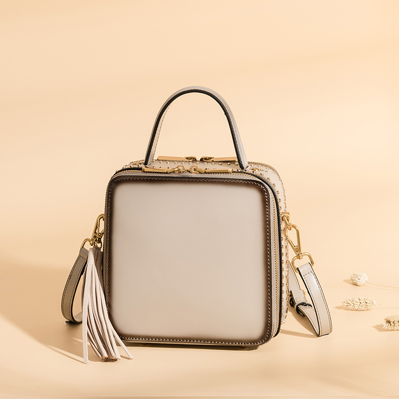 Burminsa Mini Tassel Genuine Leather Bags Women Messenger Bags Box Shaped Girls Handbags High Quality Rivet