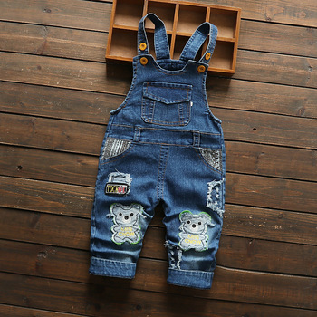 DIIMUU Toddler Baby Overalls Kids Clothing Boys Girls Denim Jumpsuits Casual Bear Patchwork Jeans Pants Infant Bebe Trousers 1