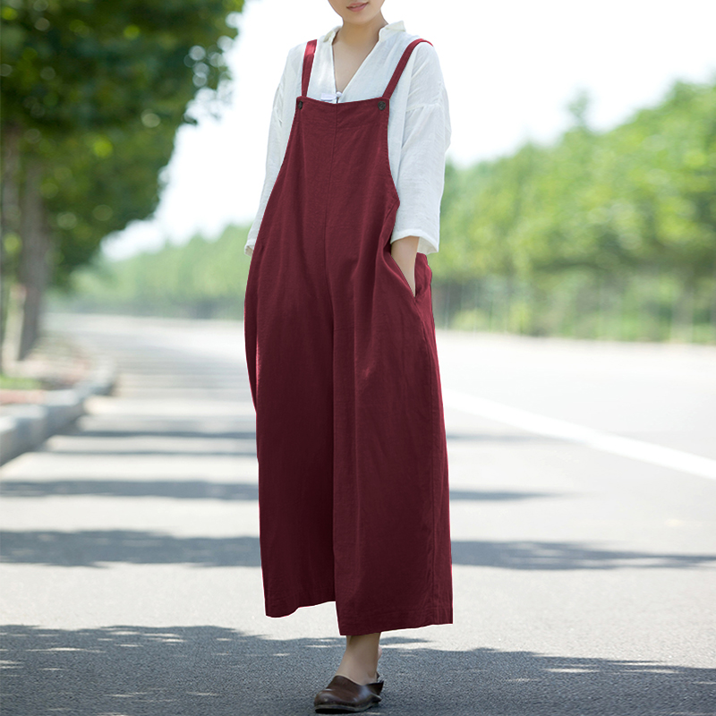 5XL 2018 ZANZEA Summer Women Strappy Pockets Solid Wide Leg Jumpsuits Casual Loose Dungarees Bib Overalls Cotton Linen Rompers