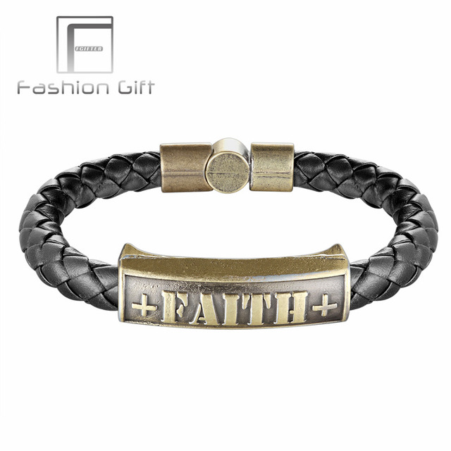 Trendy Faith Bracelet Copper Accessories Women Men Leather Bracelets Magnetic Clasp Bangles Uni Jewelry