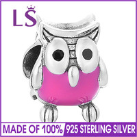 LS Wholesale Enamel Lucky Owl Charms 925 Sterling Silver Jewelry Fits Bracelets Bangles For Women DIY