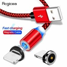 Acgicea 마그네틱 USB 케이블 아이폰 Xr Xs 맥스 X 8 7 6 6s 플러스 5s se 빠른 충전 휴대 전화 케이블 자석 충전기 와이어 코드