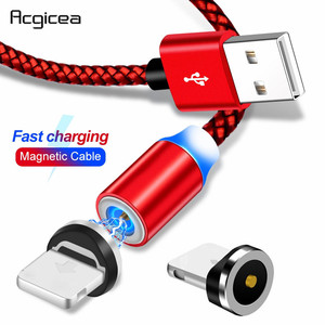 Image 1 - Acgicea מגנטי USB כבל עבור iPhone Xr Xs מקסימום X 8 7 6 6s בתוספת 5S se מהיר טעינה טלפון נייד כבל מגנט מטען חוט