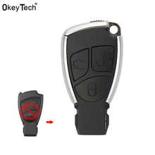 OkeyTech New Style Modified 3 Button Remote Key Shell Case With Battery Holder Silver Side Replace Cover Fob for Benz CLS C E S