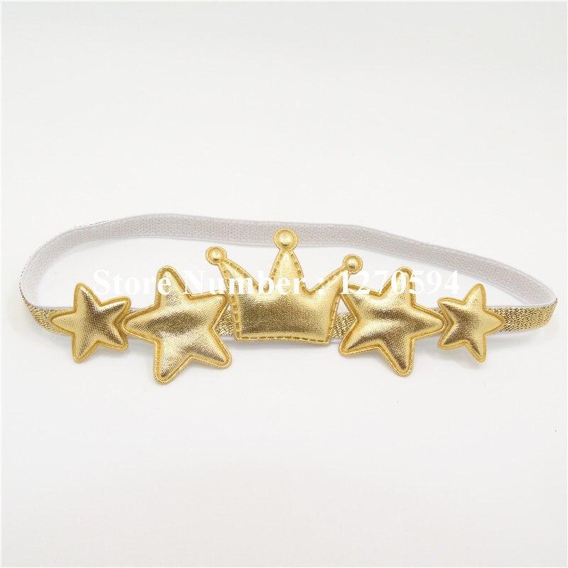 Одежда высшего качества Серебряная звезда Золотая Корона для девочек повязка на голову Малыш Hairband милой принцессы головной убор мода Фея оголовье аксессуары - Цвет: gold star and crown