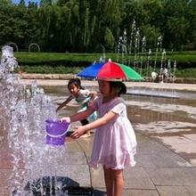 1pcs Portable Umbrella Hat Multicolor Cap Sun Rain Fishing Camping Sunscreen children play free shipping Hot