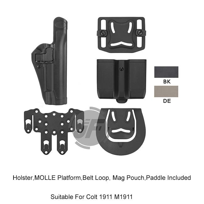 Étui de pistolet à main droite Serpa niveau 2 automatique avec plate-forme MOLLE et pochette pour Colt 1911 M1911