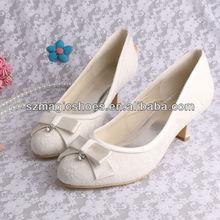 Низком каблуке с бантом обувь цвет слоновой кости кружева высокое качество ну вечеринку свадебный туфли на высоком каблуке женщина платье обуви