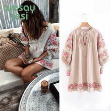 Embroidered floral vestido largo verano mujer Dress 2019 Summer Dresses Lantern Sleeve V-neck Tassel Boho Hippie Beach Dress frill trim embroidered lantern sleeve dress