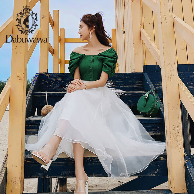 Dabuwawa 2019 New Summer Women's Retro Puff Sleeve Green Shirts Fashion Sweet Blouse Tops DN1BST044 1