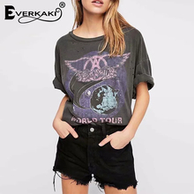 Everkaki Vintage World Tour Tee Shirt Summer 2019 Print Tee&Tops Short Sleeve O Neck Bohemian Plus Size Loose Tshirts Women
