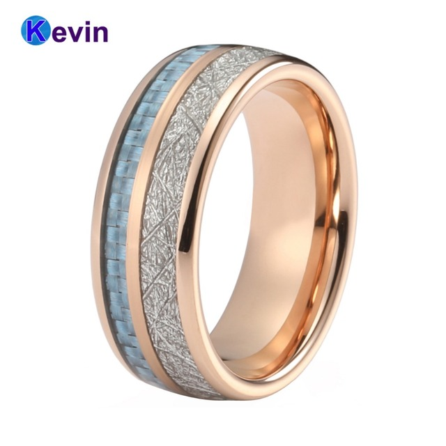 Rose Gold Wedding Band Tungsten Rings For Men And Women With Light Blue Carbon Fiber