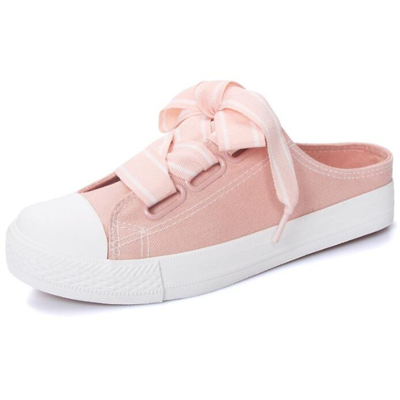 new shoes women canvas shoes fashion women solid flat with lace-up women sneakers Slip on Slide Casual Shoes