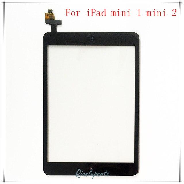 Для iPad mini 1 ipad mini 2 1-й 2-го Поколения Сенсорного Экрана Панели Дигитайзер Переднее Стекло Объектива Датчик Сенсорный Экран + IC + Home Button + наклейки
