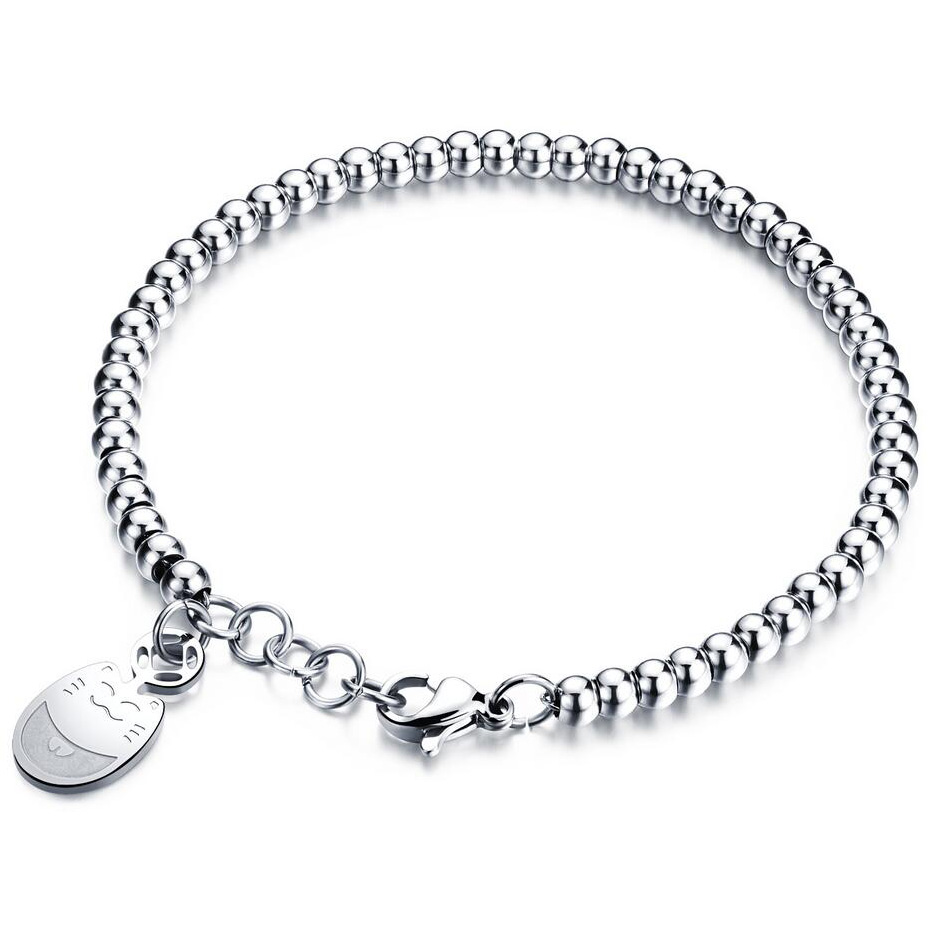 Stainless Steel Bracelet Charms: Women's Stainless Steel Bracelets Rose Gold Color Bead