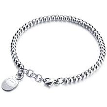 Women's Stainless Steel Bracelets Rose Gold Color Bead Bracelet Jewelry Lucky Cat Bead Bracelet Gift Wholesale