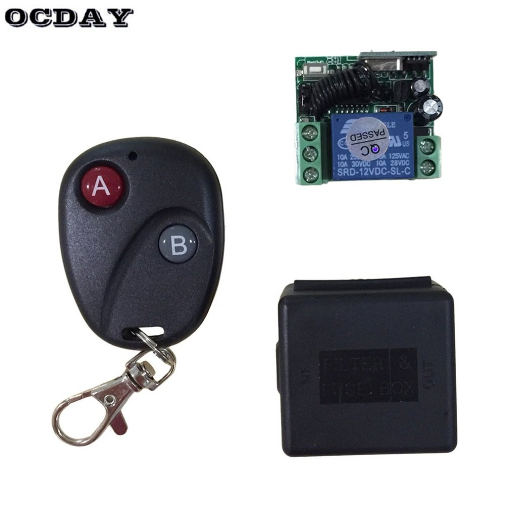 OCDAY Relay DC 12V 7A <font><b>1CH</b></font> wireless <font><b>RF</b></font> Remote Control Switch Transmitter+ Receiver For Access/door Control System image