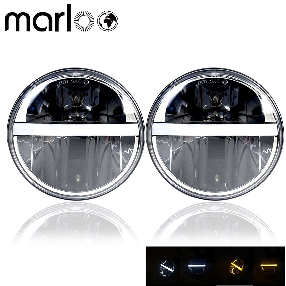 Marloo 7 Round LED Headlights With White Yellow ( Amber ) DRL Turn Signal Hi/Lo beam For Jeep Wrangler Hummer Land Rover Pair рюкзак benro hummer 100 yellow