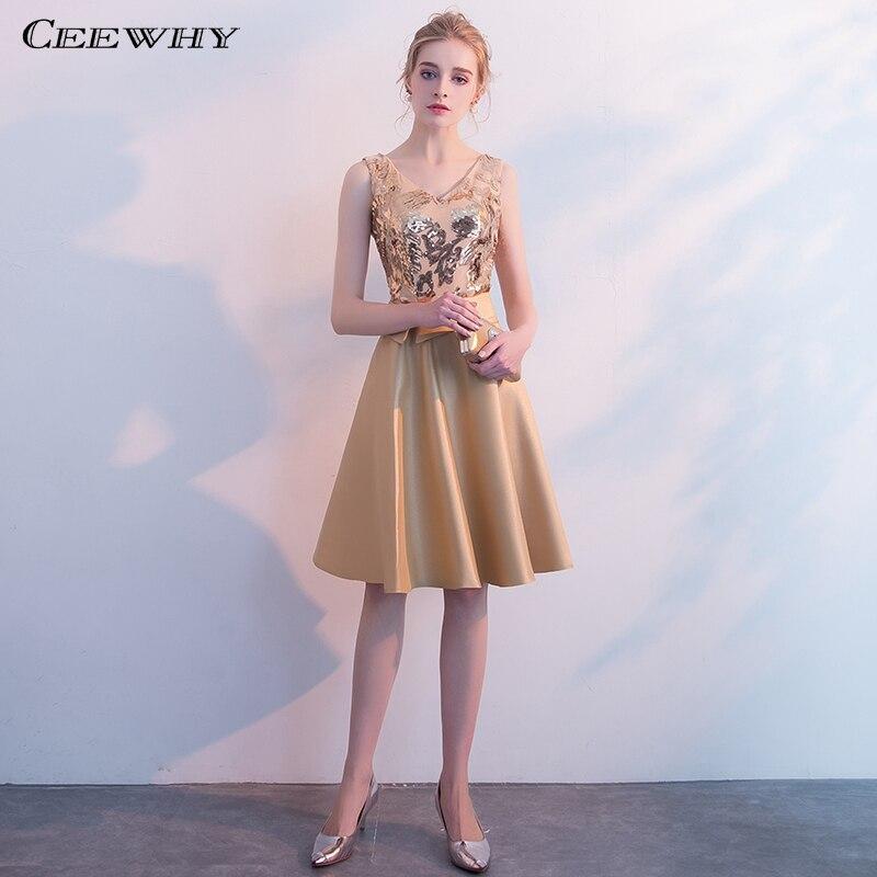 CEEWHY V-Neck Gold Sequin Prom   Dresses   2019 Party Elegant Formal   Dress   Knee Length   Cocktail     Dresses   Graduation   Dresses