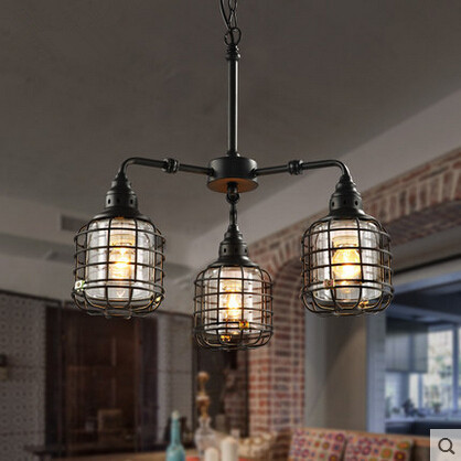 acheter cage de fer vintage industriel edison pendentif luminaires pour cafe bar. Black Bedroom Furniture Sets. Home Design Ideas
