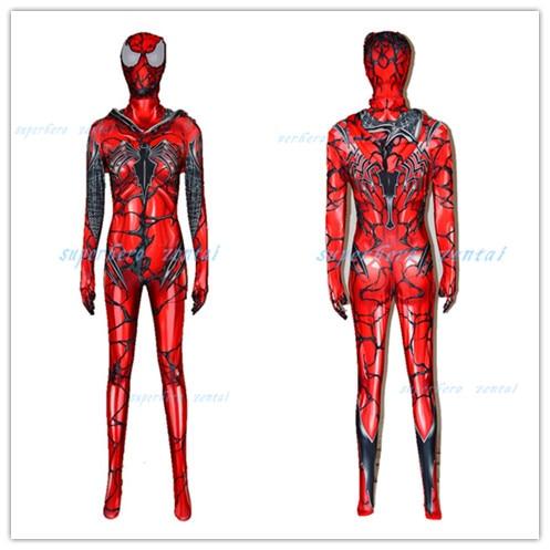 Carnage Gwen Spider girl Cosplay Costume Hoodie Zentai Bodysuit Spiderman Catsuit Spider Gwen Stacy Cosplay Costume