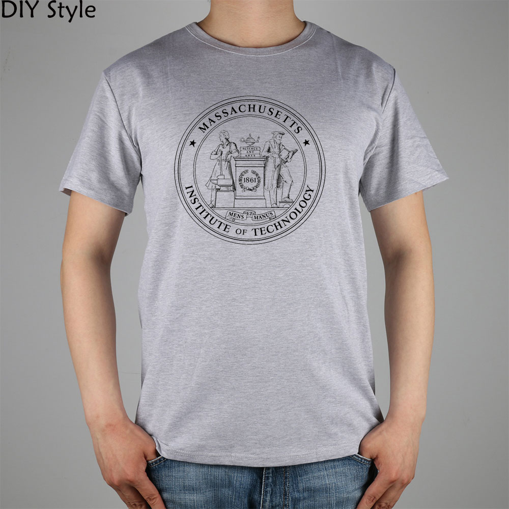 <font><b>MASSACHUSETTS</b></font> INSTITUTE OF TECHNOLOGY 1861 PUO SEAL MIT T-shirt Top Lycra Cotton Men T shirt New DIY Style image